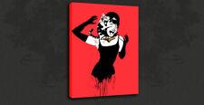 Banksy Audrey Hepburn Rojo Graffiti Street Impresión de lona