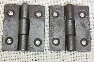 """2 Door small HINGES BUTT 1 3/4 X 2"""" cast iron old store stock vintage rustic"""