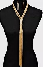 Long Gold Chain Fringe Vintage Style Tassel Chunky Lariat Necklace Earring Set