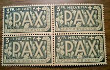 Switzerland Helvetia 1945 Peace Issue; Sc # 303:   FOUR block - NH OG