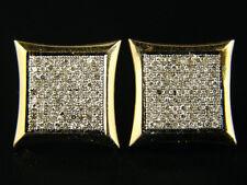 10K YELLOW GOLD MENS XL KITE PAVE DIAMOND EARRINGS 14 M