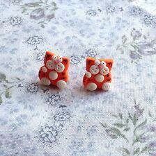 ginger cat stud earrings Cute Meow Handmade Xmas Gift Emo Kitty