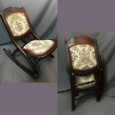 Folding Wood Rocking Chair Antique Tapestry Victorian Style Rocker