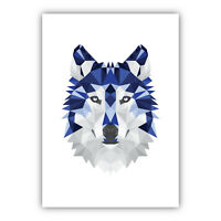 Art PRINT GEOMETRIC ANIMAL FOREST collection NAVY BLUE & GREY Poster 3 for 2