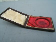 Pocket watch hard case vintage leather with clasp & red inside
