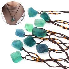 Reiki Clear Crystal Healing Necklace Natural Quartz Stone Fluorite Pendant