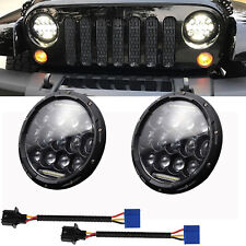 2X 7inch 75W Round LED Headlight Hi-Lo Beam DRL Bulb For Jeep Wrangler JK CJ TJ