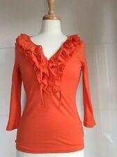 DESIGNER 'Ralph Lauren' Brand New Gorgeous Bright Orange T Shirt/Top XS  8/10