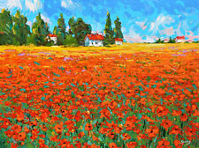 Evening lavender field - Palette Knife Oil Painting On Canvas By Dmitry Spiros.