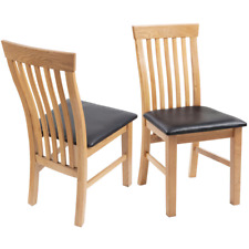 6 OAK Wood Chairs Dining Chair Wooden Frame Artificial Leather Seater Kitchen