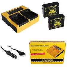 2x Batteria Patona + caricabatteria rapido DUAL LCD per Panasonic Lumix DMC-TZ5
