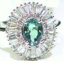 Vintage 1.56CT 18K Gold Natural Cut White Diamond Alexandrite Engagement Ring