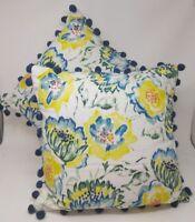Threshold Pillows Throw Toss Set of 2 Floral Yellow Blue Green Tassels New
