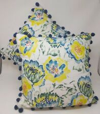 Threshold Pillows Throw Toss Set of 2 Floral Yellow Blue Green Tassels New