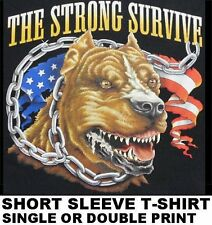 THE STRONG SURVIVE AMERICAN FLAG PIT BULL DOG ON CHAIN BIKER SKULL T-SHIRT WS152