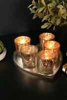 Set of 5 Silver Gold Tea Light Glass Votive Candle Holders Heart Iron Plate