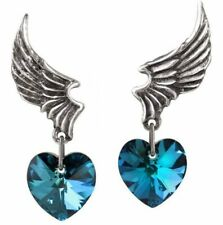 Alchemy England - El Corazon Stud Earrings, Droppers, Blue Love Heart, Gothic