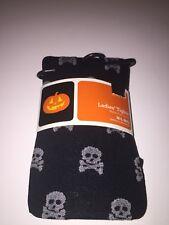 Womens Pantyhose Tights Skull Crossbones Goth Halloween Size M/L