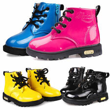UK Baby Girls Boys Childrens Kids Winter Casual Flat Pumps Boots Shoe Size 5-13