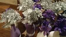 Purple and White wine bottles centerpiece decor