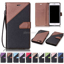 PU Leather Wallet Phone Case Mask Cover Flip Matte For iPhone Samsung Galaxy S J