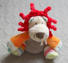 DOUDOU LION LAINE BEIGE ROUGE ORANGE ...HAPPY HORSE   ÉTAT  NEUF