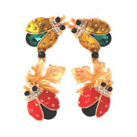 $880 EXQUISITE Earrings Gold alloy Yellow&red enamel Ladybug glass Crystal Clip