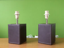 PAIR OF BROWN LEATHER LAMPSHADES