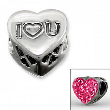 Sterling Silver 'I Love You' Pink Crystal Heart Charm Bead European Bracelet 925