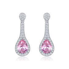 HUCHE Waterdrop Silver White Gold Filled Pink Pear Diamond Topaz Women Earrings