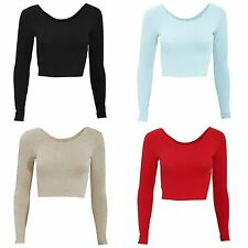 Women's No Pattern Long Sleeve Sleeve Cotton Blend Cropped Tops & Shirts