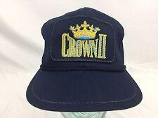 CROWN II - Vtg 70s-80s Navy Blue Royal Gold Logo Leather Strapback Hat Cap
