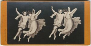 Dancing Graces Pompeii Ancient Wall Painting Stereoview Card Roman Art