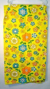 Vintage Mid Century 60s 70s Flower Power Yellow Daisy Retro Fabric Almost 2 YDs