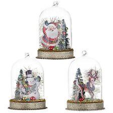 Set/3 RAZ Imports Santa Claus Reindeer Vntg Style Christmas Decor Glass Cloche