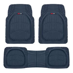Waterproof Charcoal Blue Rubber Floor Mats for Car Truck w/ Rear Liner Deep Dish