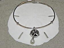 New Vantel Pearls Silver Tone Mermaid Charm Bangal Bracelet 7mm White B1327