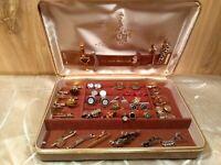 Lot of  32 vintage cufflinks/tie pins/ bars  in case 12 bars,10 cufflinks,10 pin