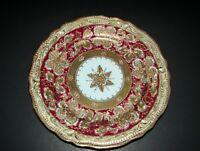 """Antique Gold Encrusted Center Medallion Limoges Porcelain Cabinet Plate 8 3/4"""""""