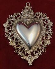 cuore ex voto metallo bagno argento 7x9cm  vintage milagros