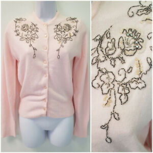 Vintage Midcentury 50s Pink Cropped Lambswool Sweater wClear Shimmery Sequins and Self Buttons 1950s Cotton Candy Cardigan MediumLarge