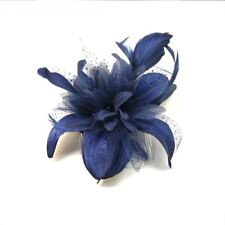 Flower and Feather Comb Fascinator Wedding Races Proms Bridal Hair Accessory Navy