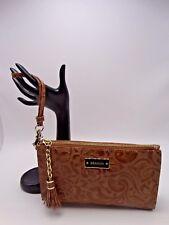 Brahmin Floral Zip Wristlet Very Pretty Camel Embossed Leather New