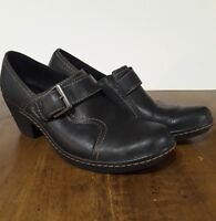 Clark's leather charcoal black slip on clog shoe comfortable women's size us 8m