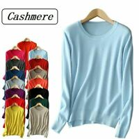 Womens Cashmere Loose Pullover Crew Neck Knit Sweater Cardigans Jumpers Tops US