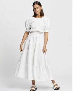 Aere Tiered Linen Midi Dress Size 6