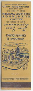 Columbus Ohio Vintage Matchbook Far East Chinese Restaurant & Olentangy Tavern