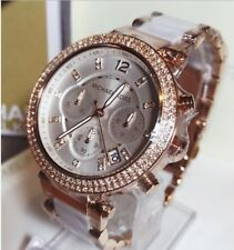 NEW GENUINE MICHEAL KORS MK5774 PARKER 39MM WHITE DIAL ROSE GOLD LADIES WATCH UK