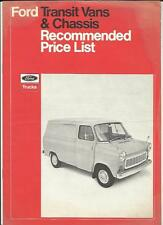 FORD TRANSIT VANS AND CHASSIS PRICE LIST SALES BROCHURE APRIL 1971