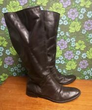 Vintage Soft Dark Brown Leather Flat High Boots Sz UK 6.5 (EU 39.5)